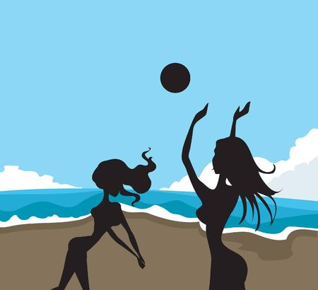 Two silhouettes at the beach playing volleyball