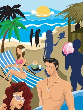 sunglasses beach: A beach party