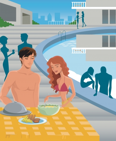 woman looking down: A man and woman eating poolside Stock Photo