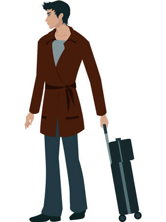 A man with a suitcase trolley