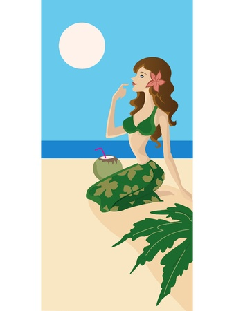 A woman in bathers with a coconut cocktail on the beach photo
