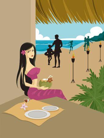 tiki bar: A woman at a Tiki bar on a tropical beach