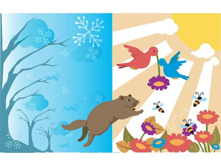 Animals going from winter to spring