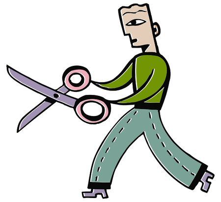 A man with a large pair of scissors