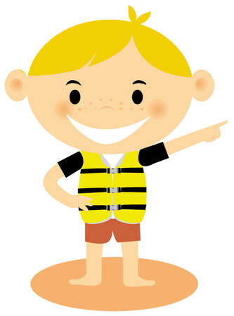 life jacket: A young boy wearing a life jacket Stock Photo
