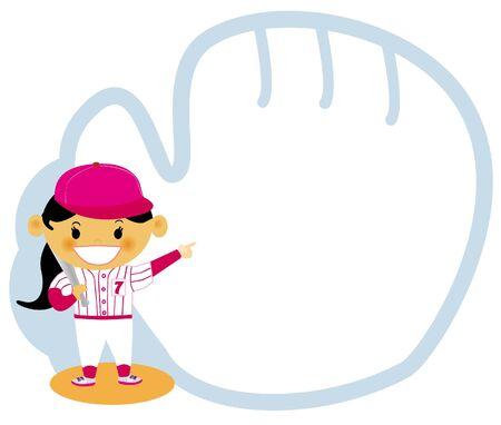 Una chica joven vestida con un uniforme de béisbol con un dibujo lineal de un guante de béisbol Foto de archivo - 14887692