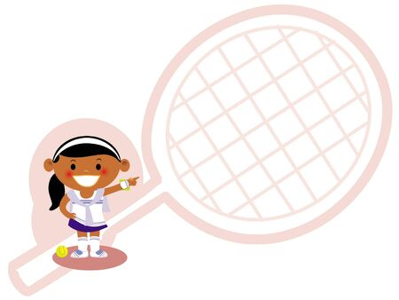 A young girl dressed in a tennis uniform with a line drawing of a tennis racquet