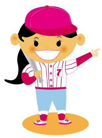 Una chica joven vestida con su uniforme de b�isbol Foto de archivo - 14887761