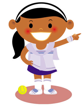A young girl dressed in a tennis uniform pointing