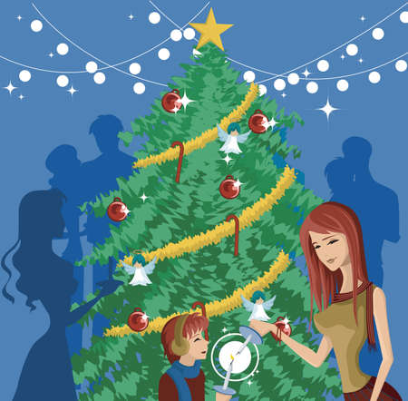 muff: A mother and child lighting candles in front of a decorated Christmas tree