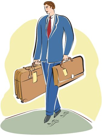 A businessman  carrying a briefcase and luggage