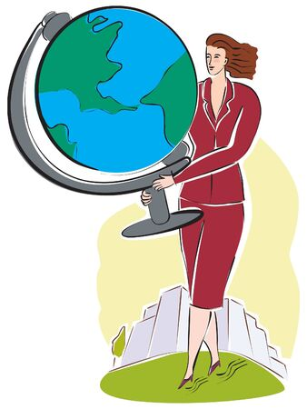 A business woman with a large world globe