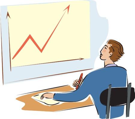 A businessman looking at a graph Stok Fotoğraf