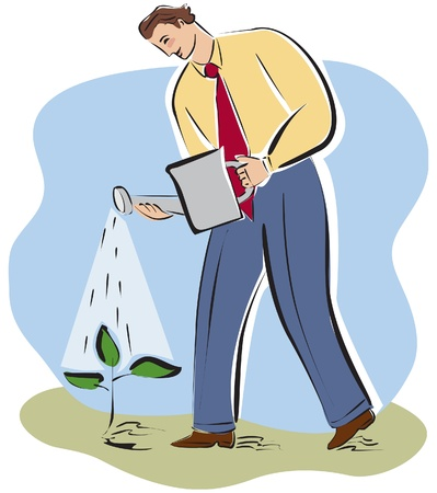 beginnings: A businessman watering a plant Stock Photo