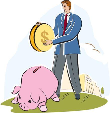 A man putting a large coin into a piggy bank photo
