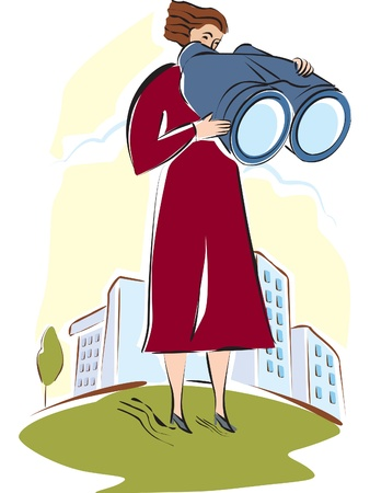looking through an object: A woman looking through large binoculars Stock Photo
