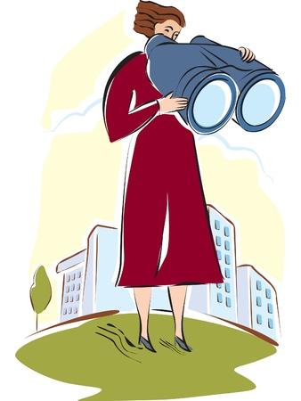 A woman looking through large binoculars Stock Photo