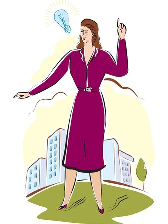 woman arms up: A business woman with an idea
