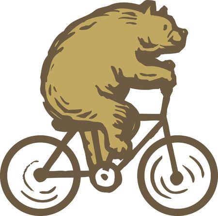 A bear riding a bike photo