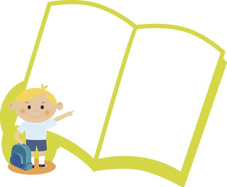 A boy pointing to a blank book