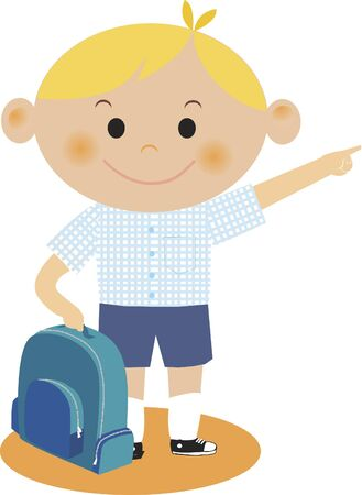 A boy pointing while holding his backpack Stock fotó