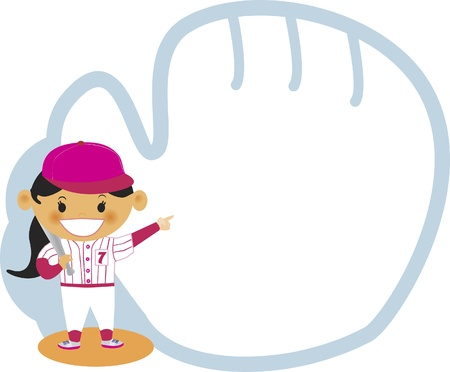 A girl pointing to a baseball mitt