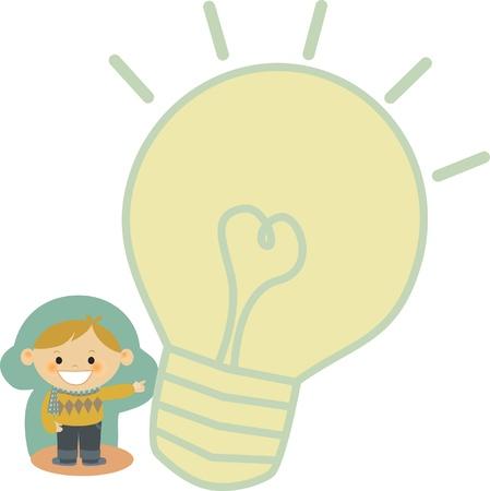 A boy pointing to a light bulb Stock fotó