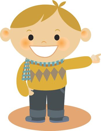 A boy wearing an argyle sweater pointing