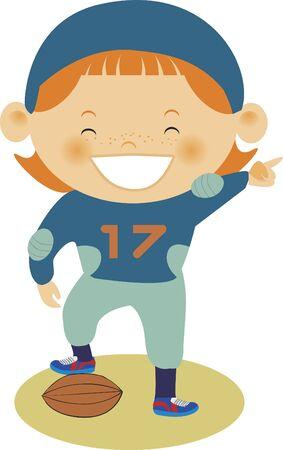 Un enfant debout avec un pied sur un ballon de football Banque d'images - 14887734