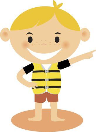 life jacket: A boy wearing a life jacket Stock Photo