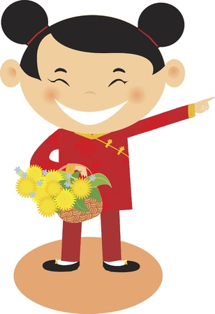 A girl holding flowers and pointing