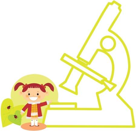 A girl standing beside a microscope Zdjęcie Seryjne