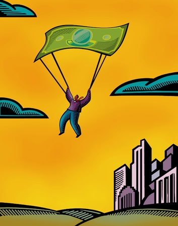 citylife: A man using a bank note as a parachute