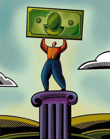 An illustration of a man lifting a bank note Imagens - 14887908