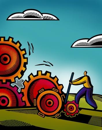 A business man working on inter connected gears Standard-Bild