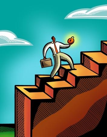 A business man climbing a flight of stairs