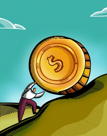 tiring: A man pushing a giant coin uphill