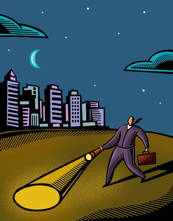 navigating: A businessman using a flashlight to navigate in the dark Stock Photo