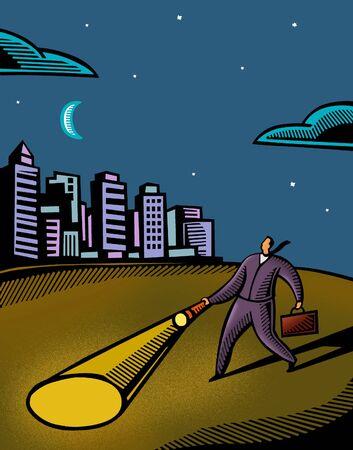 flashlight: A businessman using a flashlight to navigate in the dark Stock Photo