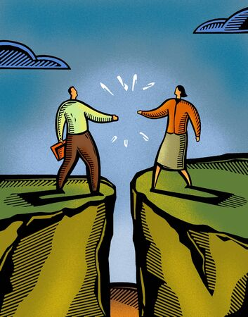 two persons only: A man and a woman meeting over a crevasse