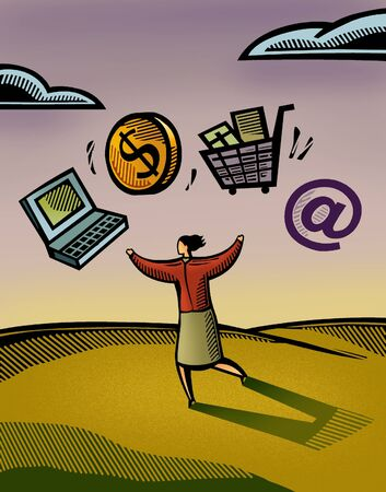 retailing: A woman juggling her web-based business