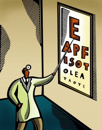 health cartoons: Optometrist pointing at an eye chart Stock Photo