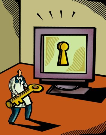 Doctor holding a giant key in front of a computer screen that has a keyhole photo