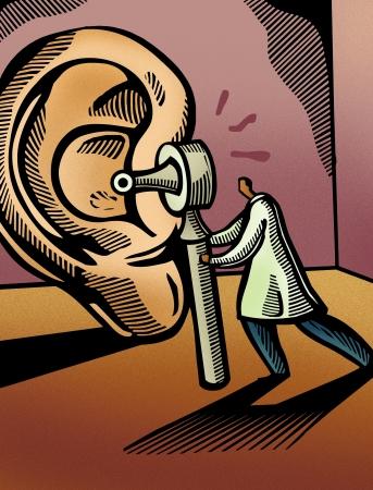 ohr: Arzt sucht durch ein Otoskop auf einem riesigen Ohr