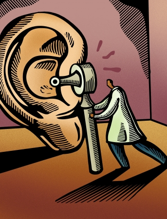 common sense: Doctor looking through an otoscope at a giant ear