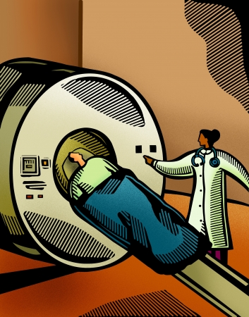 woman lying down: Doctor putting a patient through a CT scanner