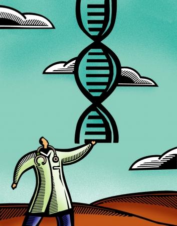 Arts die een paar DNA dubbele helix