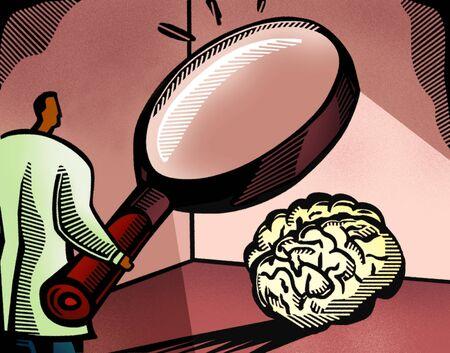 medico caricatura: Doctor que mira a un cerebro a trav�s de una lupa gigante