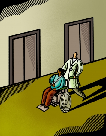 Doctor pushing a patient in a wheelchair photo