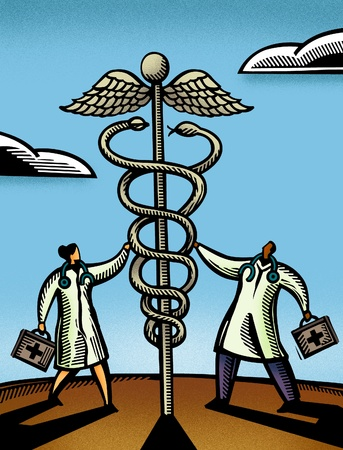 dr: Two doctors touching a giant caduceus